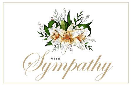 Illustration pour Condolences sympathy card floral lily bouquet and lettering - image libre de droit