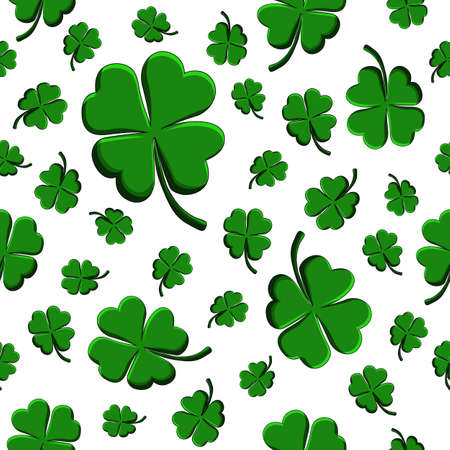 Illustration pour Green clover leaf decorative on a white background. Doodle St Patricks Day Seamless Pattern. Hand drawn vector sign luck. Funny festive card for the holiday. Elegant clip-art background. - image libre de droit