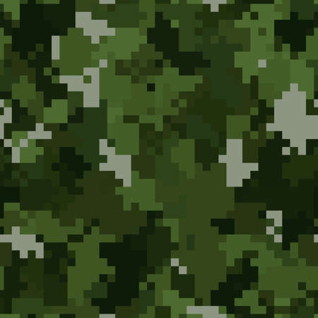 Illustration for Military camouflage seamless pattern. Woodland digital pixel style. - Royalty Free Image