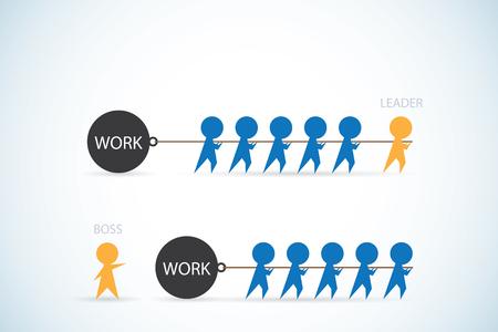 Vektor für leader vs boss, leadership and business concept - Lizenzfreies Bild