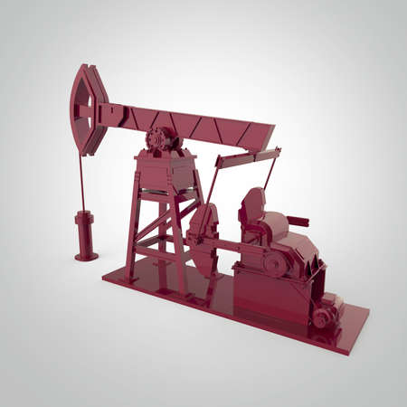 High detailed  red metallic oil pump-jack, oil rig. isolated 3d rendering. oil, fuel industry, economy crisis illustration.