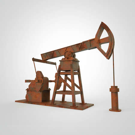 High detailed rusty oil pump-jack, oil rig. isolated 3d rendering. oil, fuel industry, economy crisis illustration.