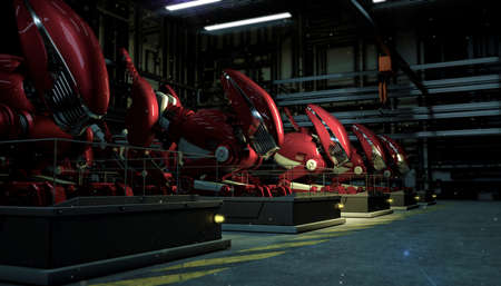 a series row of large red robots in the force of a fallout on pedestals in the shop floor at night. Sci-fi futuristic industry production 3d render