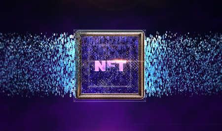 NFT невзаимозаменяемые токены крипто-арт на красочной абстрактной