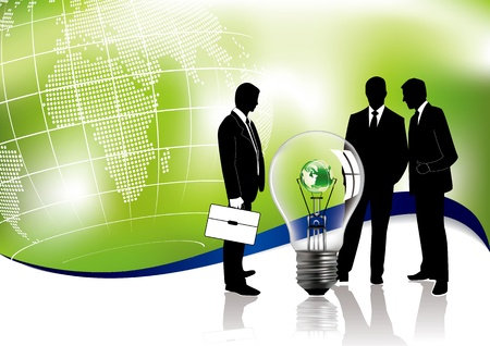 Business meeting concept about global ecology in editable vector format