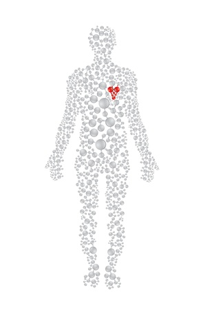 Human body concept with red heart. Editable vector format.