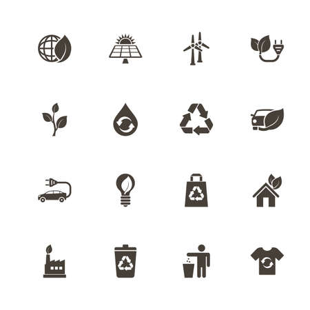 Ilustración de Ecological icons. Perfect black pictograph on white background. Flat simple vector icon. - Imagen libre de derechos