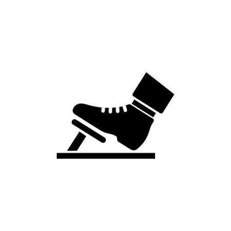 Illustration for Foot in the Boot Presses Gas or Brake Pedal vector icon. Simple flat symbol on white background - Royalty Free Image