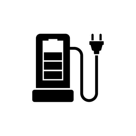 Charging Station For Electric Car Flat Vector Icon In Simple Black