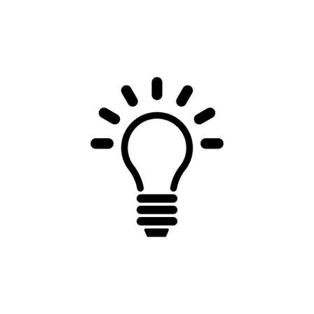 Ilustración de Lamp, Light Bulb, Idea. Flat Vector Icon illustration. Simple black symbol on white background. Lamp, Light Bulb, Idea sign design template for web and mobile UI element - Imagen libre de derechos