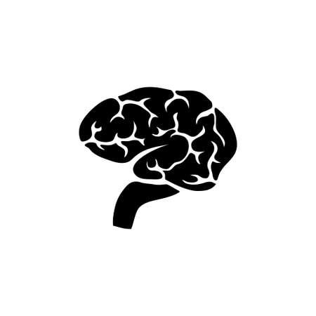 Illustration pour Brain, Human Mind Organ, Anatomy, Intellect. Flat Vector Icon illustration. Simple black symbol on white background. Brain, Human Mind Organ, Anatomy sign design template for web and mobile UI element - image libre de droit