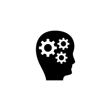 Illustration for Human Head with Gears, Thoughts of Brain. Flat Vector Icon illustration. Simple black symbol on white background. Human Head Gears, Thoughts Brain sign design template for web and mobile UI element - Royalty Free Image