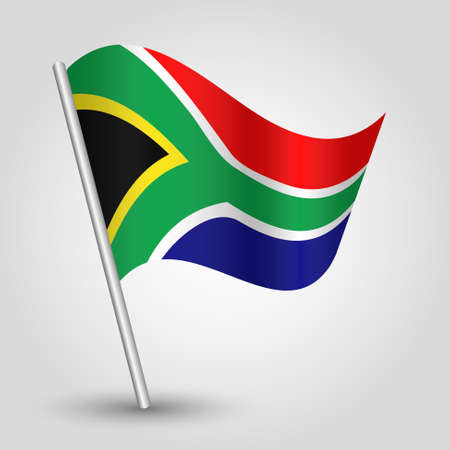 vector waving simple triangle african flag on pole - national symbol of South Africa with inclined metal stick