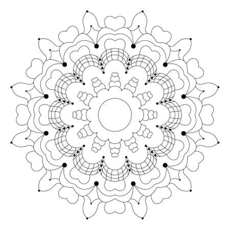 Vector black and white circular flower mandala with hearts ...