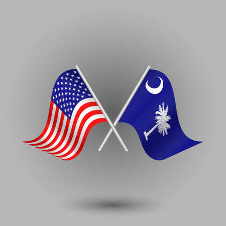 vector two crossed american and flag of south carolina on silver sticks - symbols of united states of america usa