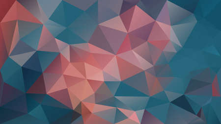 Illustration for vector abstract irregular polygon background - triangle low poly pattern - teal blue and coral pink orange color - Royalty Free Image
