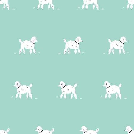Illustration pour Seamless simple white dog retro hipster poodle dog pattern with aqua teal background - image libre de droit