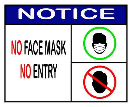 Illustration pour no face mask no entry,notice or mandatory sign vector - image libre de droit