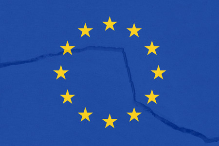 Europe flag, Europe is breaking symbolically
