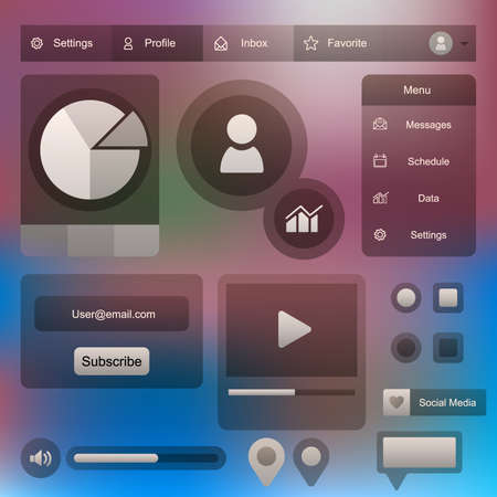 Illustration pour user interface account social media page. vector design user interface software application system - image libre de droit