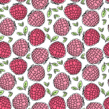 Illustration for vector illustration sweet fresh red pink raspberry fruit repeat seamless pattern doodle cartoon modern style. Great for fabric packaging wallpaper - Royalty Free Image