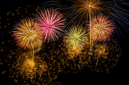 Photo pour Colorful fireworks celebration and the night sky background. - image libre de droit