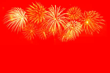 Photo for Gold fireworks celebration on red background for Chinese new year celebration. - Royalty Free Image