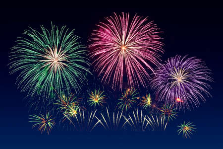 Photo for Colorful fireworks celebration and the twilight sky background. - Royalty Free Image