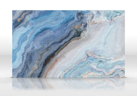 Photo pour Blue marble tile standing on the white background with reflections and shadows. Texture for design. 2D illustration. Natural beauty - image libre de droit
