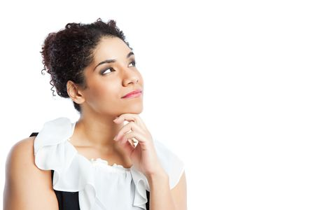 An isolated shot of a thinking black businesswoman