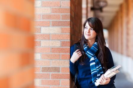Photo pour A portrait of a mixed race college student at campus - image libre de droit
