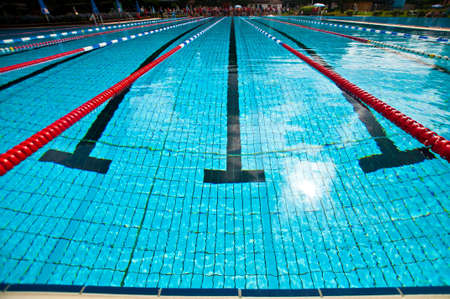 Swimming pool with red lines during a triathlon