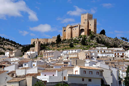 View of the castle  castillo de los Fajardo  with townhouses in the foreground, Velez Blanco, Almeria Province, Andalucia, Spain, Western Europe