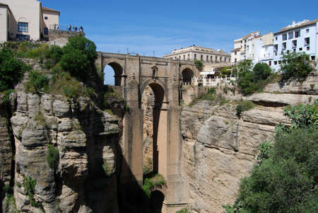New bridge  Puente Nuevo  viewed from West, Ronda, Malaga Province, Andalucia, Spain, Western Europe