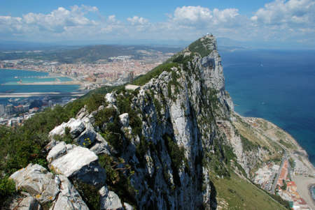 Elevated view of The Rock and Spanish coastline, Gibraltar, UK, Western Europe