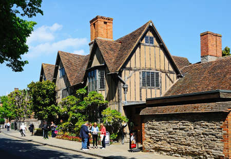 Stratford-upon-Avon, England - May 18, 2014 - Halls Croft - Shakespeare s daughters house along Old Town, belonged to Susanna Hall and Dr  John Hall