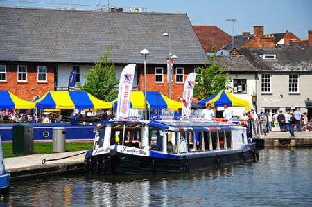Stratford-upon-Avon, UK - May 18, 2014 - Pleasure boat in the canal basin, Stratford-Upon-Avon, Warwickshire, England, United Kingdom, Western Europe