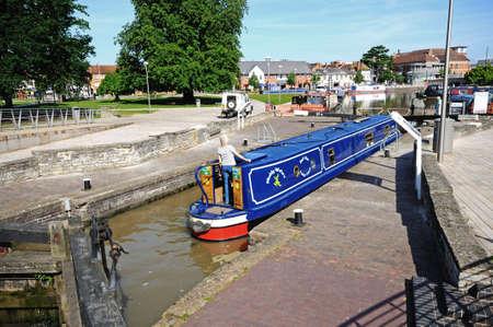 Stratford-upon-Avon, United Kingdom - June 12, 2014 - Narrowboats in the canal basin, Stratford-upon-Avon, Warwickshire, England, UK, Western Europe