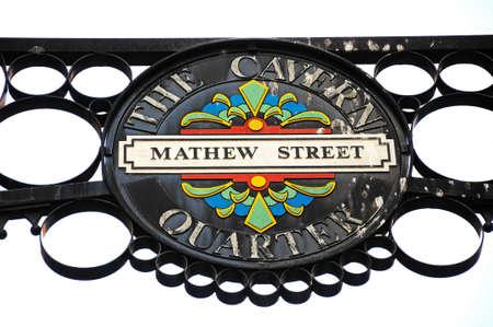 Wrought iron Mathew Street sign, The Cavern Quarter, Liverpool, Merseyside, England, UK, Western Europe.