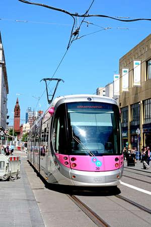 Midland Metro city centre extension Tram along Corporation Street, Birmingham, England, UK, Western Europe.