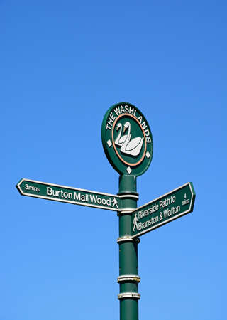 The Washlands signpost against a blue sky, Burton upon Trent, Staffordshire, England, UK, Western Europe.