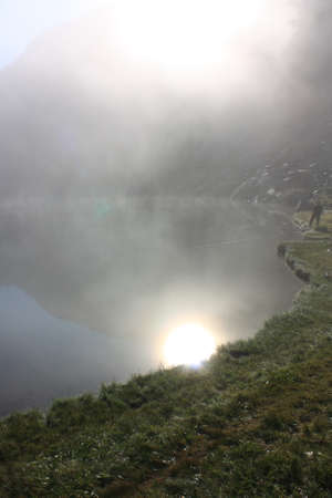 Pyrenean lake in morning,Donezan in  Ariege,  Occitanie in south of France
