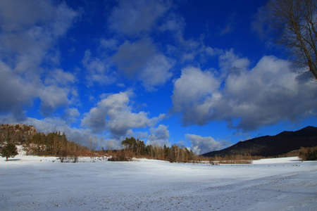 snowy countryside and cloudy sky in Pyrenees. Aude  in south of France