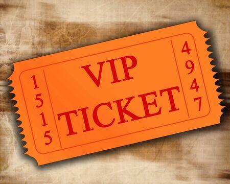orange VIP ticket on an old paper texture