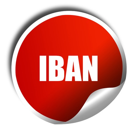 iban, 3D rendering, red sticker with white text