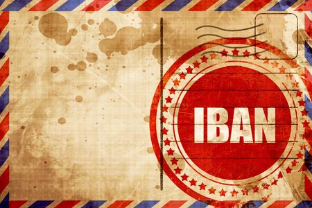 iban, red grunge stamp on an airmail background