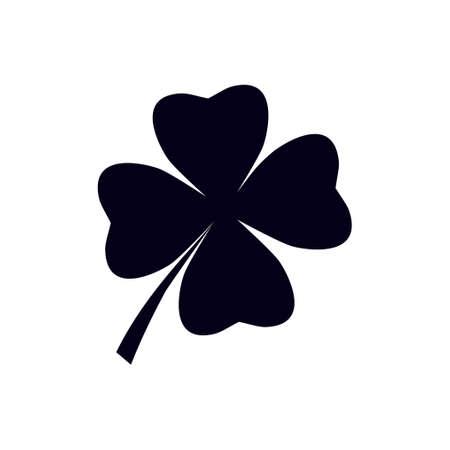 Illustration pour Leaf clover sign icon. Saint patrick symbol. Ecology concept. Flat design style. - image libre de droit