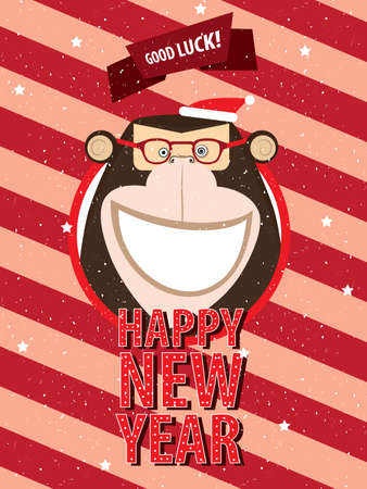 Greeting poster Happy New Year happy monkey in festive frame