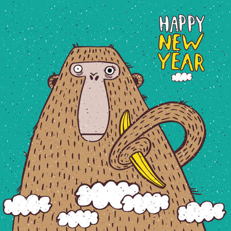 Funny New Year illustration with monkey and banana