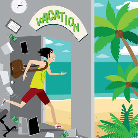 Vector illustration on color background featuring vacation, businessman running out of the office to the beach